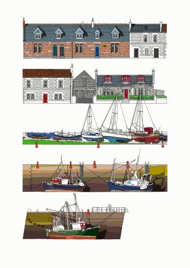 Port Seton A4 Harbour Print Portrait halfsized