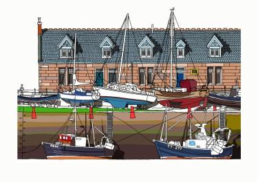 Port Seton A4 Landscape Harbour Print
